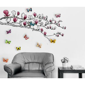 Samolepka Magnolia and Colourful Butterflies
